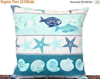 Christmas in July Sale Outdoor Seashells Pillow Cover Cushion Starfish Fish Coastal Tropical Turquoise Teal Navy Blue Beige Decorative 18x18