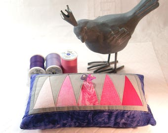 Pincushion- Modern Patchwork, Pink Mountains on Majestic Purple Pincushion, Emery core, Machine Quilted, Ready to Ship