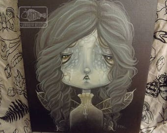 Original ghost FAIRY lowbrow art painting gothic pop surreal