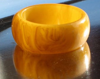Art Deco Estate Bakelite Ring Finger Marbled Butterscotch Amber Chunky Egg Drop Catalin Yellow Size 7.25 1/4 7.5 1/2 UK O 1/2 P Mid Century