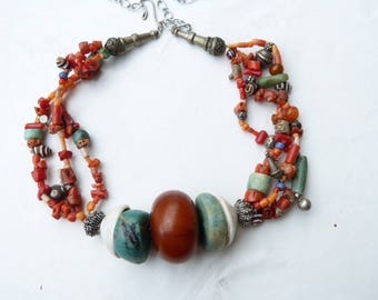 Moroccan Jewelry, Berber Beduin Dowry style necklace, Coral and Amazonite Necklace, Statement Necklace
