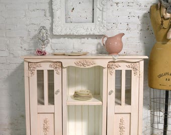 Painted Cottage Chic Shabby Hand Made Farmhouse Cabinet SV634