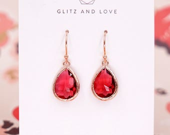 Ruby Red Teardrop Earrings   Rose Gold   Simple Bridesmaid Bridal Wedding Jewerly Gifts   Something blue for her   GlitzAndLove