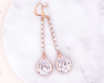 Rose Gold Wedding Earrings. Bridesmaid Earrings. Bridal Jewelry .Wedding Clear Teardrops luxe Cubic Zirconia, Padma