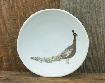 Peacock Woodgrain Dish by SKT Ceramics- Hand built porcelain dish, jewelry dish, tea bag holder by SKT Ceramics