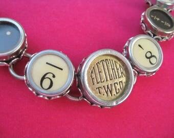 Typewriter Key Bracelet - Antique Typewriter Jewelry -  B5005 - Random Keys