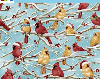 CIJ: 15% OFF Sale Fabriquilt - Season Greetings - Sky Birds - Christmas Holiday - Fabric by the yard 103-63620