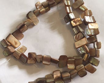 1 x strand of dyed brown shell beads approx 8mm 48beads