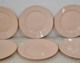 Set of Six French Porcelain Cake/Side Plates - Pale Blush Porcelain, Digoin Sarreguemines 1920 -1950