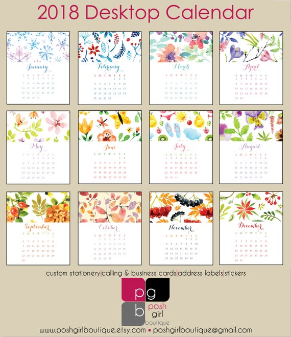 2018 Desk Calendar Watercolor Designs With Clear Case