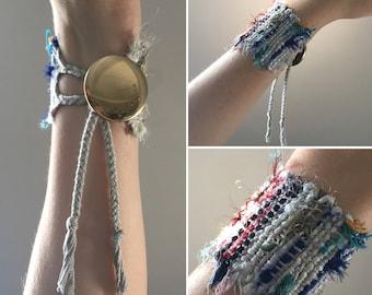 Handwoven Recycled Silk & Cotton Saori Cuff Bracelet //  white / gray / multicolored / sustainable / zero waste / boho / upcycled