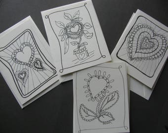 Heart note cards, set of 4, good for Love notes at any time of the year.