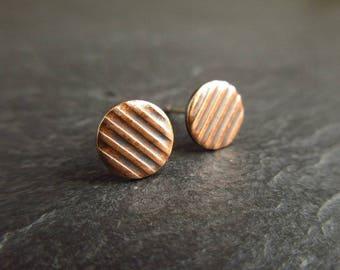 Embossed bronze stud earrings, bronze studs, stripe pattern bronze earrings, 8th wedding anniversary, bronze wedding anniversary, metalwork