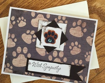 Pet Sympathy Card with Envelope Pet Rainbow Bridge Card with 3D Paw Embellishment