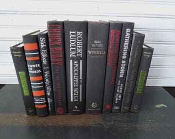 Books in Black - Bookcase Book Shelf Decor - Books by the Foot - Instant Book Collection - Black Red GreenVintage
