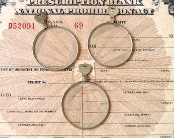 Optical Test Lens Lot of 3 - Optician's Glass Lenses - 1910s-20s Optometrist's Optical Lenses