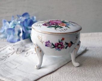 Vintage Porcelain Footed Trinket Box - Bouquet of Flowers w Roses Vanity Jar