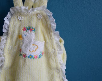 Vintage Baby Girl's Yellow and White Terry Cloth Romper with Duck Applique- Size 6 Months