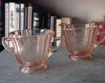 20% OFF SALE Pink Glass Cream and Sugar Set