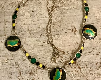 Beautiful Art Deco Sterling Silver Green Yellow Black Enamel Butterly Bubbles Vintage Necklace Art Deco Jewelry