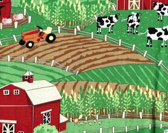 "FARM SCENE Cotton Fabric - One yard x 42"" wide -"