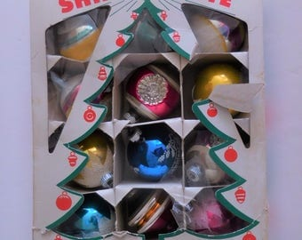 1950's Glass Shiny Brite Retro Christmas Ornaments - Box of 12