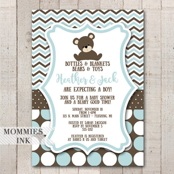 Teddy Bear Baby Shower Invitation Teddy Bear Invitation Its a Boy