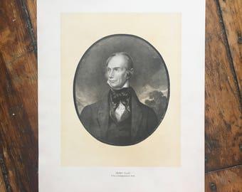 C. 1904  HENRY CLAY PORTRAIT original antique historic portraiture lithograph - great American - politician and statesman
