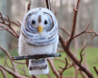 Barred Owl bird ornament, needle felted sculpture