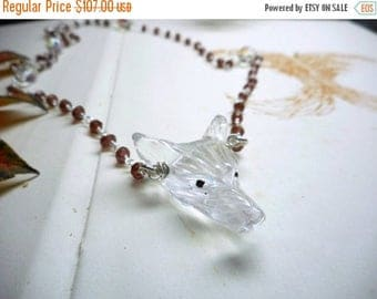 SALE Wolf In Sheep's Clothing iV. Carved Quartz Wolf Head Pendant  and Genuine Garnet Rosary Necklace Occult Goth Edgy ooak handmade Sterlin