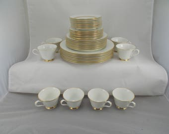 Bone China Vintage Dinnerware Set, Andover by Oxford, White, Gold Trim, Setting for Eight, Shipping Included in Price