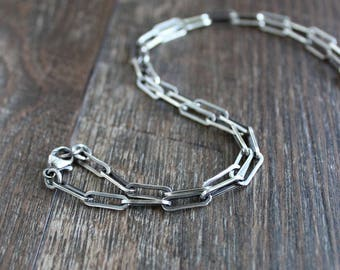 Mens Long Link Silver Chain Necklace, Mens Cable Chain Necklace, Sterling Silver