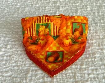 "Dog Bandana, Dog Scrunchie, Autumn Harvest Fancy Bandanchy with orange & gold trim - Size S: 12"" to 14"" neck"