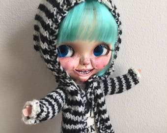 Black and White Stripe Wool Blythe Hooded Sweater