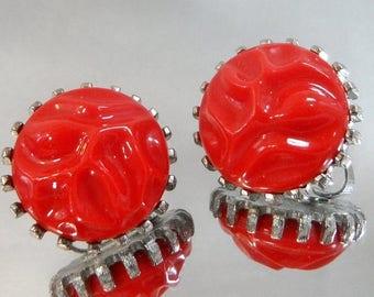 SALE Vintage Red Carved Faux Carnelian Earrings.  Judy Lee Earrings.