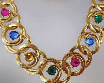 SALE Vintage Colorful Rhinestone Choker Necklace. 1970s.  Bold Gold Rhinestone Choker Necklace.