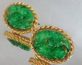 SALE Vintage Peking Glass Earrings.  Carved Faux Green Jade Glass Earrings.