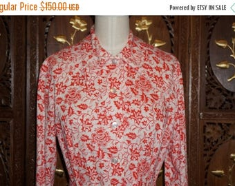 ON SALE 1970s Saks Fifth Avenue Jamison Boutique Red & White Cotton Floral Print Shirt Dress