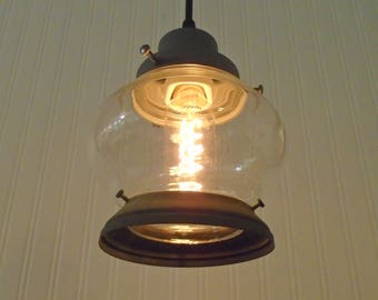 Clear Vintage PORCH Light Pendant with Edison Bulb in Verde Faux Green - Hanging Ceiling Flush Mount Lighting Fixture by Lamp Goods