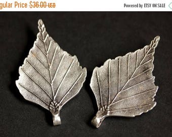BACK to SCHOOL SALE Set of Two Viking Brooches. Leaf Brooches. Norse Shoulder Brooches. Silver Leaf Apron Pins. Viking Brooch Set Historical