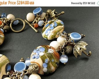BACK to SCHOOL SALE Umbrella Charm Bracelet. Lampwork Glass and Gemstone Bracelet in Blue, Tan and Bronze - Rain in the Desert. Handmade Bra