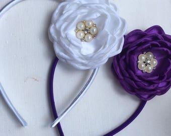 Purple headband, bridal hair piece, satin flower clip, wedding flower girl, bridal hair clip, bridesmaid hair accessory, flower girl gift
