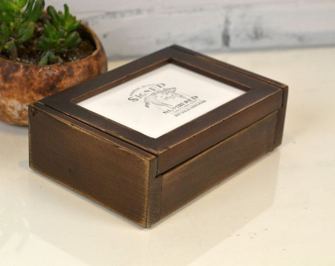 Wooden Keepsake Box with 5x7 Picture Frame Lid in Super Vintage Dark Wood Tone Finish - Handmade Wooden Box Picture Frame - IN STOCK
