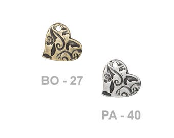 TierraCast 14mm Amor Charm - choose from brass oxide or antique pewter - reversible two-sided charm with abstract floral patterns