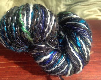 "135 Yards Handspun Baby Alpaca/Merino/Silk Two Ply Yarn ""Jewel"""