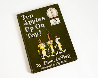 Vintage 1960s Childrens Book / Ten Apples Up On Top by Theo LeSieg 1961 Book Club Edition Hc / Dr. Seuss Beginner Book