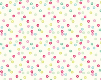Christmas Dear Holiday Fabric Stars Multicolor Twinkle Pink