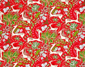 WinterLand Christmas Holiday Fabric Reindeer Poinsettias on Red