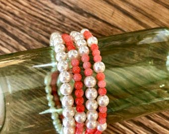 Memory wire stacked bangle style bracelet in salmon glass beads and repurposed vintage pearls