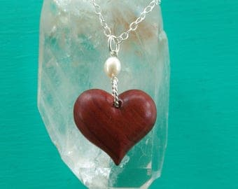 Heart Necklace Hand Carved in Redheart Wood with Pearl and Sterlng Silver, Gift for Her, Wedding Jewelry, Anniversary, Valentine's Gift